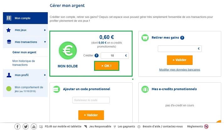 dépôt d'argent réel sur votre compte joueur FDJ.fr