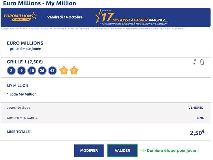 valider votre grille Euromillions en ligne