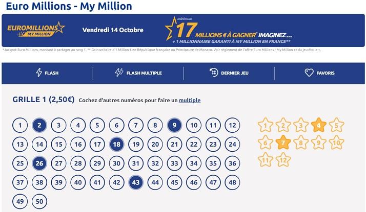 jouer votre grille Euromillions et vos numéros favoris