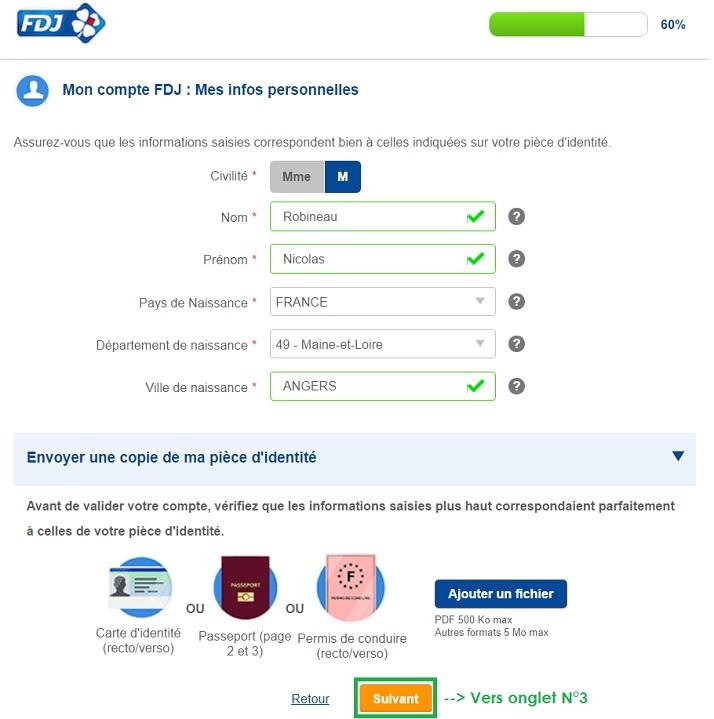 onglet N°2 d'inscription sur le site FDJ.fr